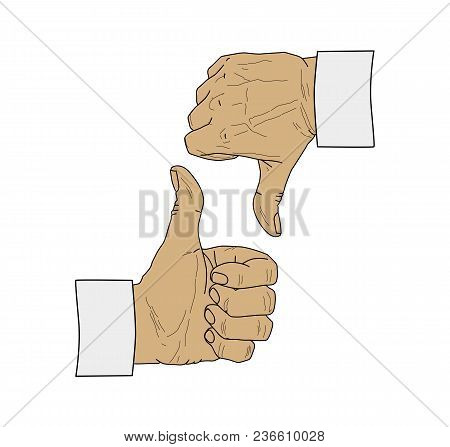 Two Male Hands Clenched Into A Fist With A Thumb Pressed Upward. Fist Outside And Inside. Gesture Up