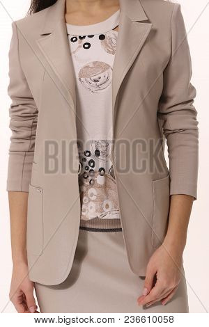 Cut Photo Of Beige Official Suit Skirt And Jacket On Business Woman Close Up Isolated On White