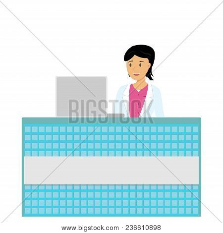 Vector Illustration. Clinic Reception. Smiling Girl Sitting At The Reception Desk Of Clinic. Colorfu