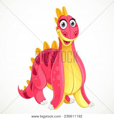 Cute Red Toy Dinosaur Isolated On White Background