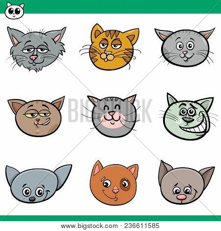Black and White Cartoon Illustration of Funny Cats or Kittens Heads Set poster