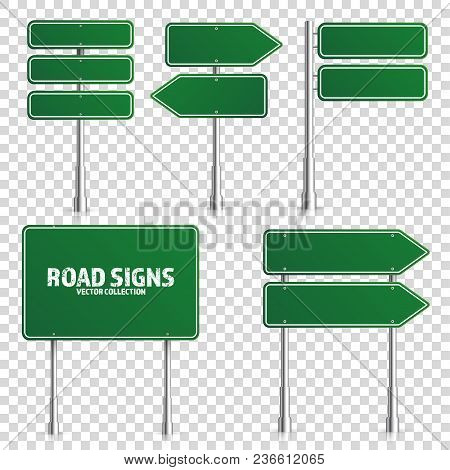 Road Green Traffic Sign. Blank Board With Place For Text.mockup. Isolated On White Information Sign.