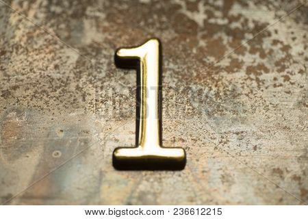 Number One, 1 Greeting Card, 1 Number, Volume Figure 1 Year, 1 Year Anniversary Gold Logo, Template