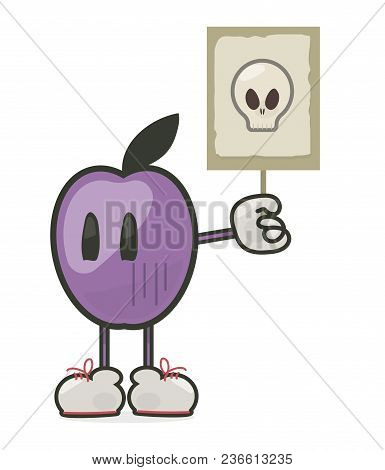 Purple With Eyes Plum In Sneakers Holds A Transporter With A Picture Of A Poisonous Chemical Skull I