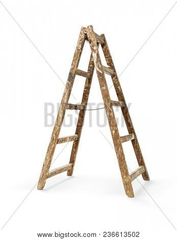 Old wooden ladder on white background, including clipping path
