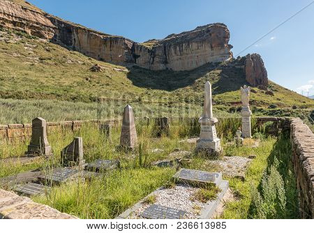 Golden Gate Highlands National Park, South Africa - March 12, 2018: The Van Reenen Cemetery In The G