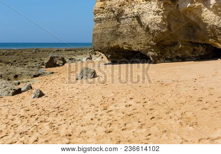 the famous beach of Olhos de Agua in Albufeira. This beach is a part of famous tourist region of Algarve.
