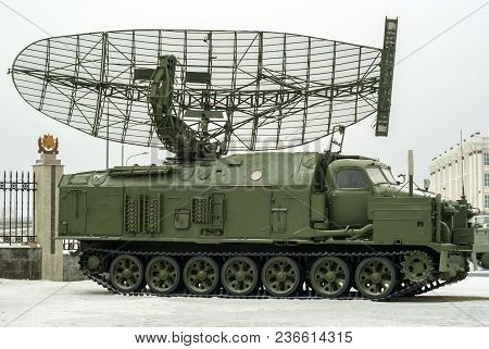 Russia, Verkhnyaya Pyshma - February 12. 2018:  Soviet Self-propelled Radar Station  P-40
