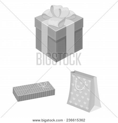 Gift And Packing Monochrome Icons In Set Collection For Design.colorful Packing Vector Symbol Stock