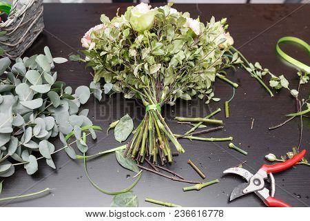Master Class On Making Bouquets. Spring Bouquet. Learning Flower Arranging, Making Beautiful Bouquet