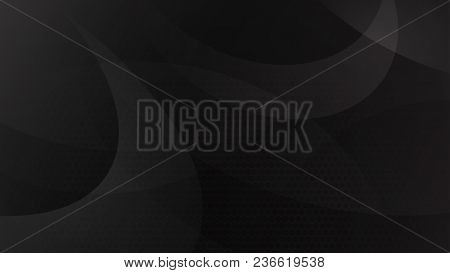 Abstract Background Of Curved Lines, Curves And Halftone Dots In Black And Gray Colors