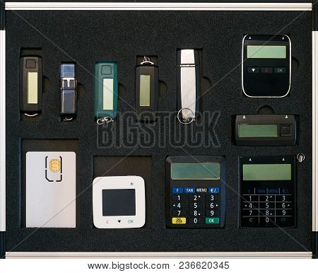 Electronic Security Devices Case. Security Key Flash Stick And Other Banking Security System Set