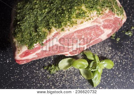 Raw Prime Ribeye Roast Prepared With A Parley And Salt Rub Ready To Be Roasted In The Oven