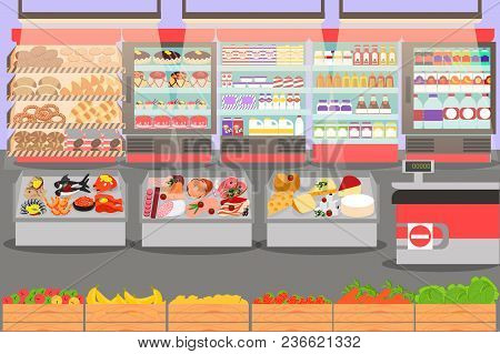 Supermarket Interior On The Checkout With Different Sections - Fruits, Meat, Cheese And Milk Product