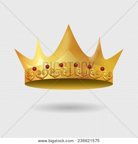 Royal Golden Crown With Gradient Mesh. Vector Illustration.