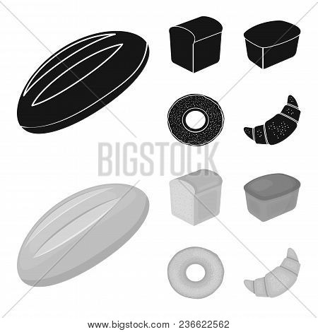 Loaf Cut, Bagel, Rectangular Dark, Half A Loaf.bread Set Collection Icons In Black, Monochrom Style