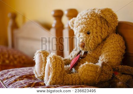 Sad Faced Teddy Bear Sitting Alone On A Bed. Depicts Loneliness And Depression