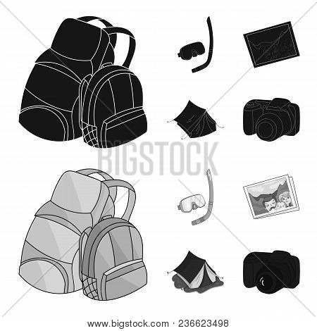 Travel, Vacation, Backpack, Luggage .family Holiday Set Collection Icons In Black, Monochrom Style V