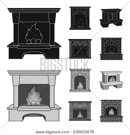 Fire, Warmth And Comfort.fireplace Set Collection Icons In Black, Monochrom Style Vector Symbol Stoc