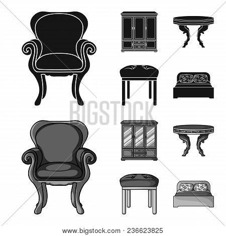 Furniture, Interior, Design, Chair .furniture And Home Interiorset Collection Icons In Black, Monoch