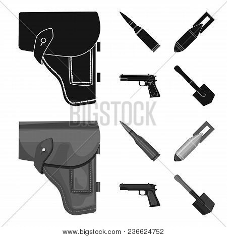 Holster, Cartridge, Air Bomb, Pistol. Military And Army Set Collection Icons In Black, Monochrom Sty