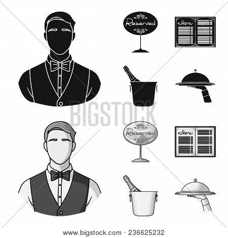 Waiter, Reserve Sign, Menu, Champagne In An Ice Bucket.restaurant Set Collection Icons In Black, Mon