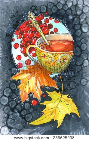 Golden Cup With Berry Drink, With Autumn Foliage And Berries