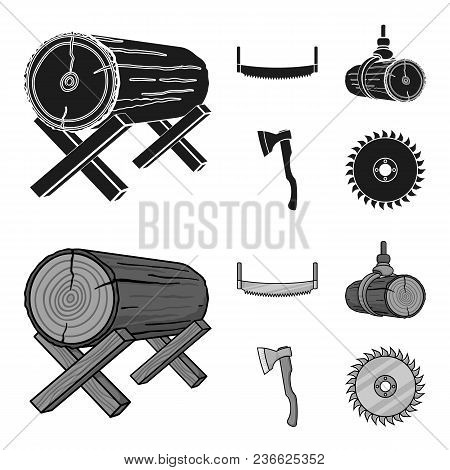 Log On Supports, Two-hand Saw, Ax, Raising Logs. Sawmill And Timber Set Collection Icons In Black, M