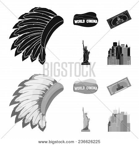 Mohavk, World Cinema, Dollar, A Statue Of Liberty.usa Country Set Collection Icons In Black, Monochr