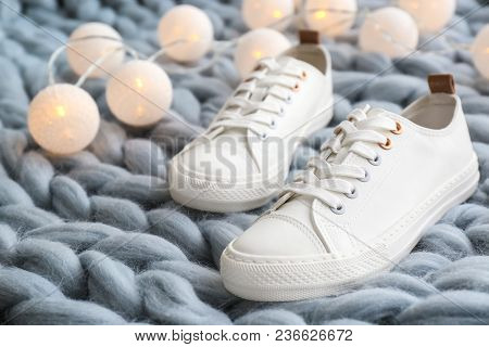 Comfortable Casual Female Shoes On Knitted Rug