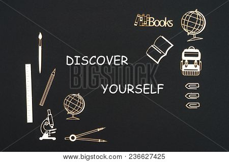 Concept Back To School, Text Discover Yourself With School Supplies Chipboard Miniatures Placed On B