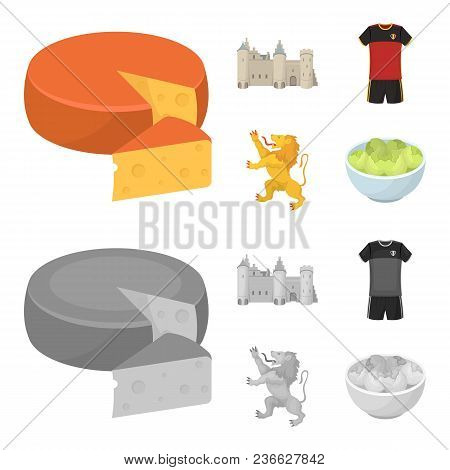 Cheese, Lion And Other Symbols Of The Country.belgium Set Collection Icons In Cartoon, Monochrome St