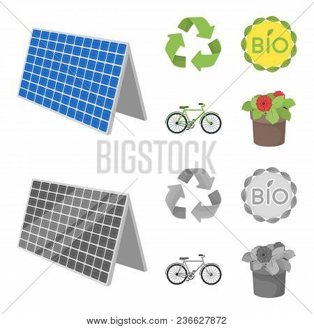 Bio Label, Eco Bike, Solar Panel, Recycling Sign.bio And Ecology Set Collection Icons In Cartoon, Mo