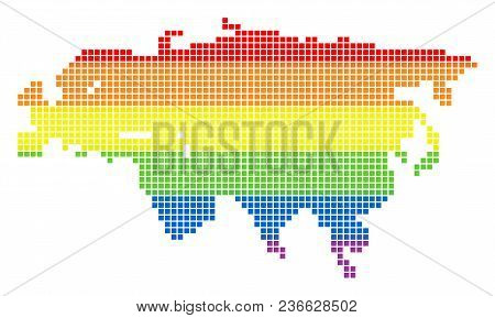 Vector Homosexual Tolerance Eurasia Map In Lgbt Flag Colors On A White Background. Colorful Vector A