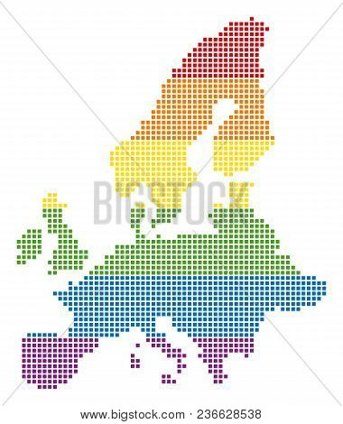 Vector Homosexual Tolerance European Union Map In Lgbt Flag Colors On A White Background. Multicolor