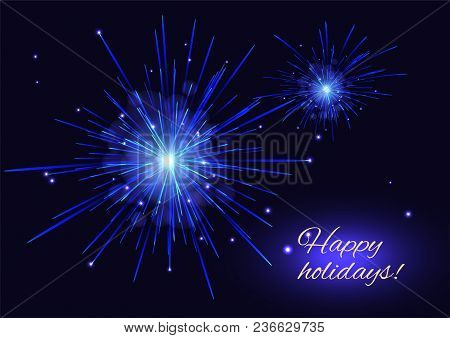 Blue White Vector Fireworks Greeting Card, Copy Space. Independence Day 4th Of July, New Year Holida