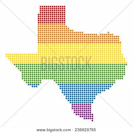 Vector Homosexual Tolerance Texas Map In Lgbt Flag Colors On A White Background. Spectrum Vector Abs