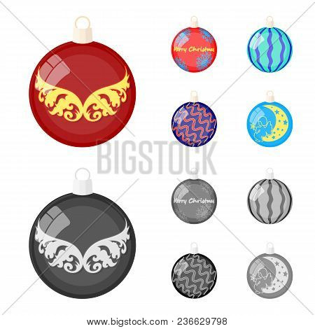 New Year Toys Cartoon, Monochrome Icons In Set Collection For Design.christmas Balls For A Treevecto