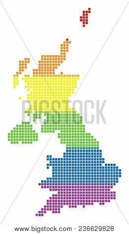 Vector Homosexual Tolerance United Kingdom Map In Lgbt Flag Colors On A White Background. Colorful V