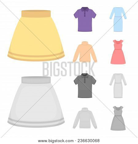 Skirt, T-shirt, Sweater, Dress With Long Sleeves.clothing Set Collection Icons In Cartoon, Monochrom