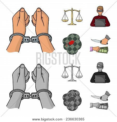 Handcuffs, Scales Of Justice, Hacker, Crime Scene.crime Set Collection Icons In Cartoon, Monochrome