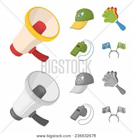 Megaphone, Whistle And Other Attributes Of The Fans.fans Set Collection Icons In Cartoon, Monochrome