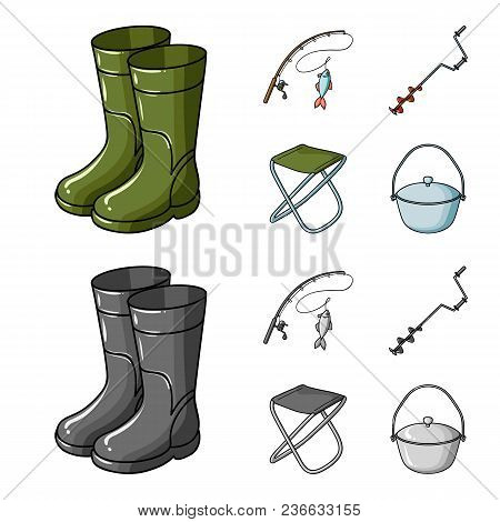 Fishing, Fish, Catch, Fishing Rod .fishing Set Collection Icons In Cartoon, Monochrome Style Vector