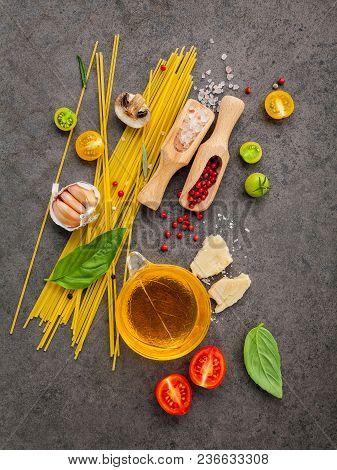 Italian Food Concept. Spaghetti With Ingredients Sweet Basil ,tomato ,garlic Peppercorn ,champignon,