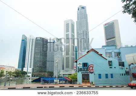 Singapore - November 23 : Urban Landscape Of Singapore. Skyline And Modern Skyscrapers Of Business,