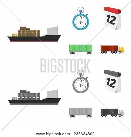 Cargo Ship, Stop Watch, Calendar, Railway Car.logistic, Set Collection Icons In Cartoon, Monochrome