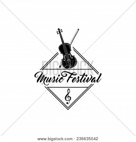 Violin Icon. Music Festival Label Logo Badge. Musical Instrument. Vector Illustration