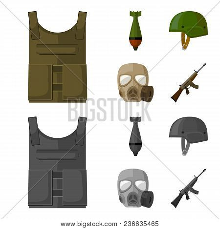 Bullet-proof Vest, Mine, Helmet, Gas Mask. Military And Army Set Collection Icons In Cartoon, Monoch