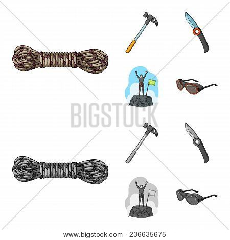 Climber On Conquered Top, Coil Of Rope, Knife, Hammer.mountaineering Set Collection Icons In Cartoon
