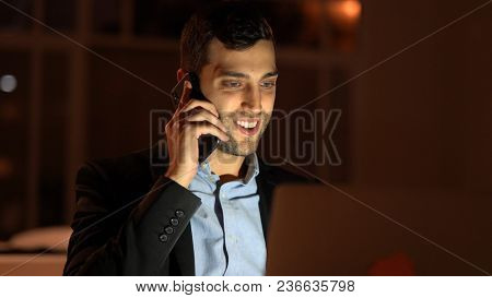 Making a business call at nighttime